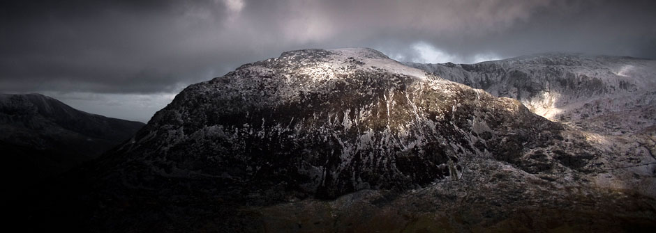 Y Garn in winter, from llyn idwal
